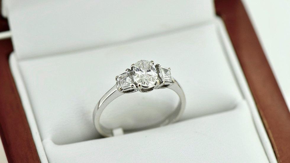 Three Stone Oval Diamond Ring