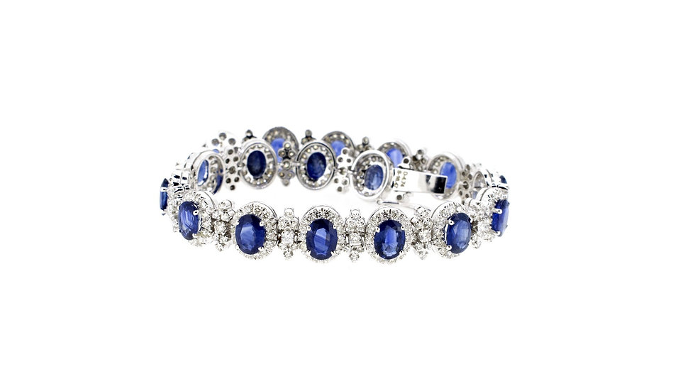 Single Halo Oval Shape Blue Sapphire and Diamonds Bracelet