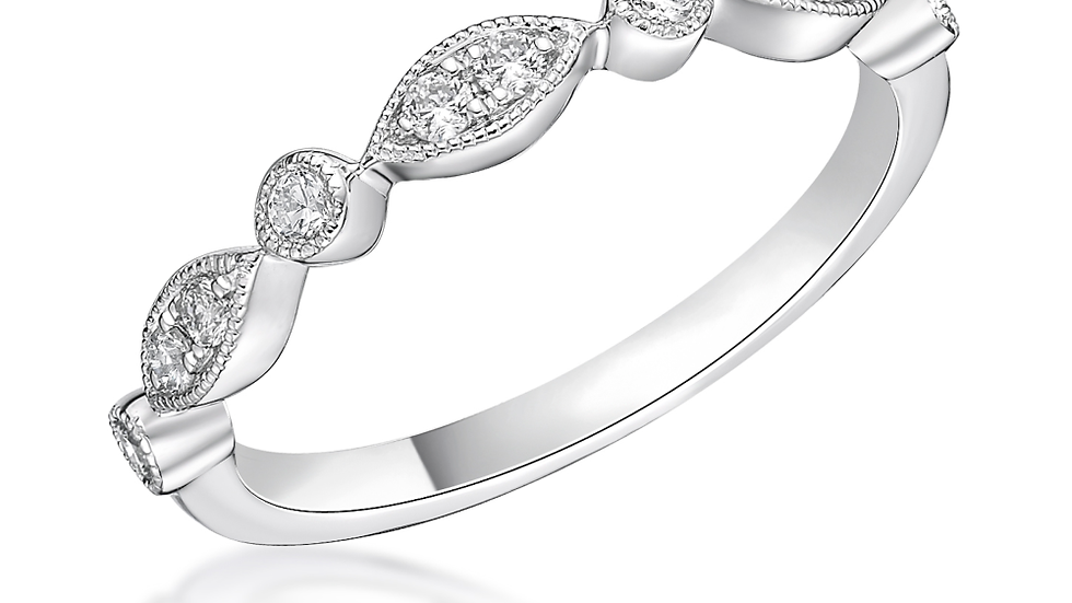 Vintage Style with Round Diamonds Half Eternity ring
