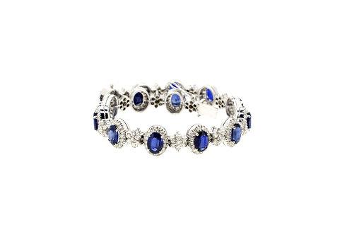 Oval Shape Blue Sapphire with Halo and flower Diamonds