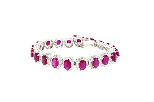Single Halo Rubies with Diamonds Bracelet
