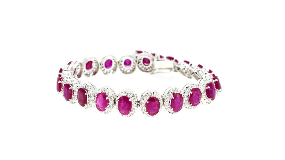 Single Halo Rubies with Diamonds Bracelet