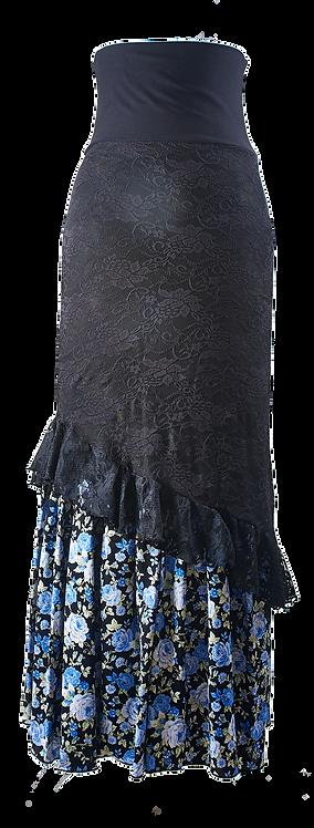 Falda Negra flores azules  encaje negro.