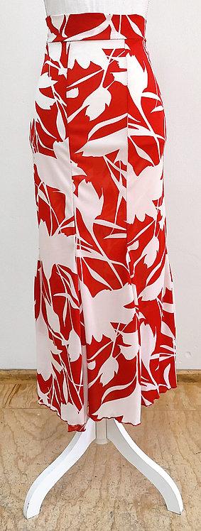 Falda roja con estampado blanco