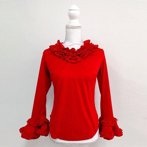 Blusa roja con olanes