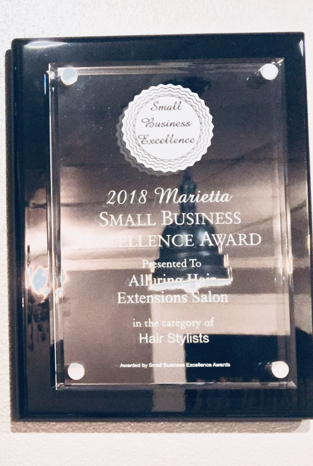 Alluring Hair Extensions of Atlanta wins 2018 Small Business Excellence Award
