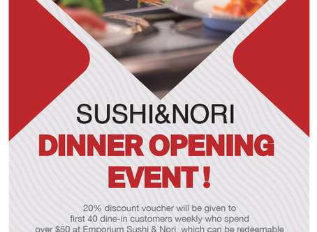 20% Discount Dinner Opening Vouchers Every Week at 387 Lt Collins Sushi&Nori!