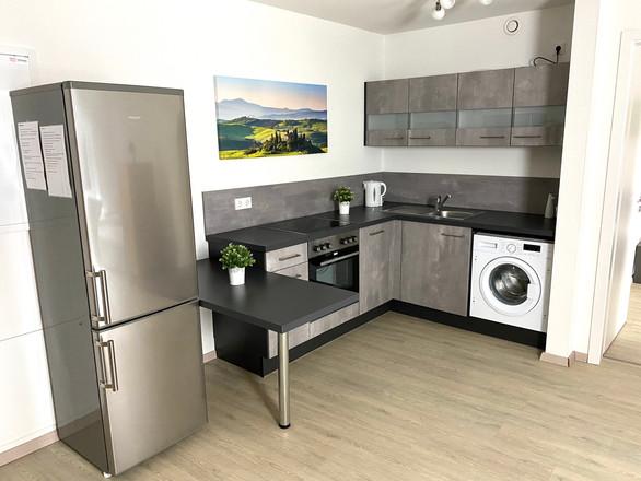 Ausgestatte Küche des Monteurzimmers München Poing