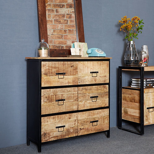 Cosmo Industrial 6 Drawer Chest of Drawers