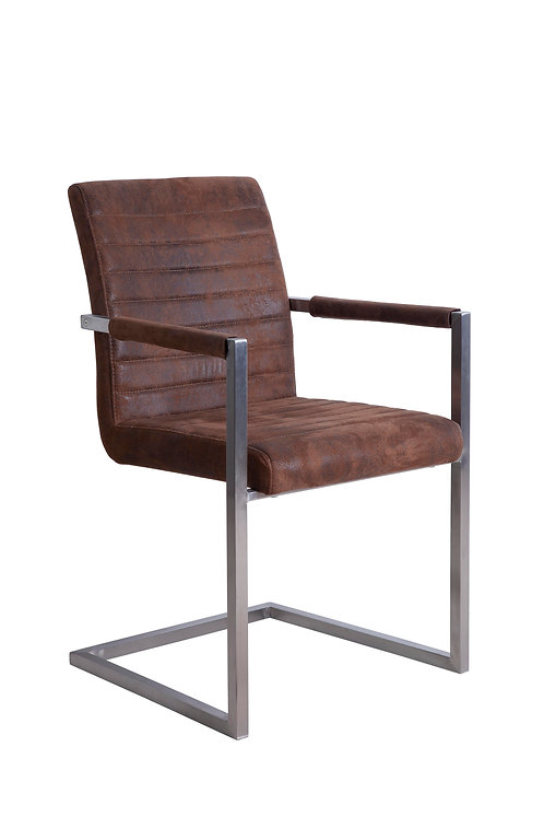 Brown Suedette Dining Chair with Square Brushed Steel Frame