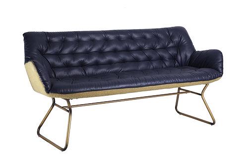 Padded Blue Studded PU Sofa with Gold Colour Leg Frame