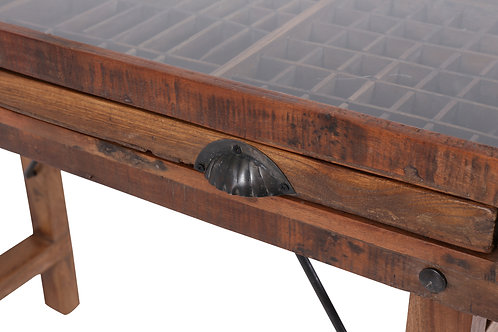 Antique Jewellery Display Table With Glass Top