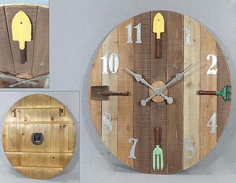 Gardeners Round Wooden Clock