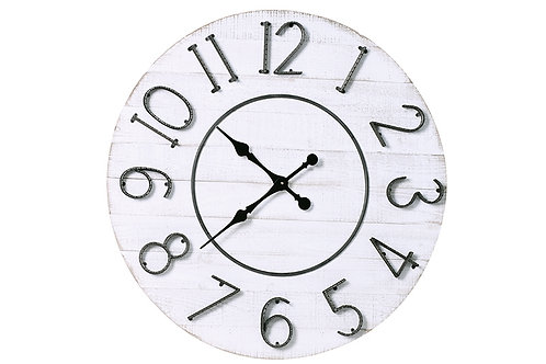 Round Limed Wood Clock with Textured Numbers