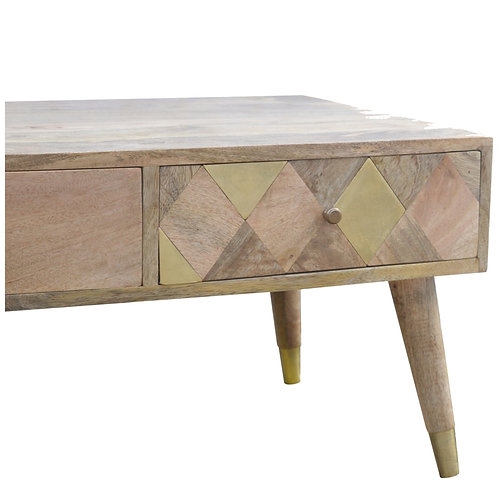 Brass Insert Coffee Table with Drawers