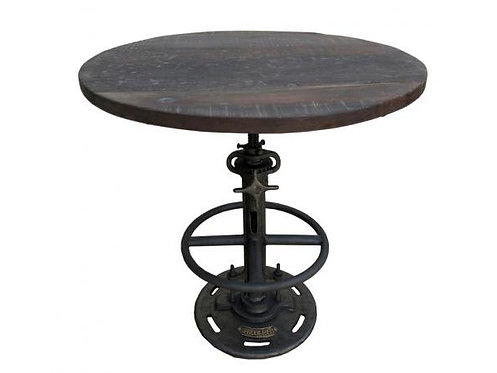 Reclaimed Wood and Metal Adjustable Cafe Table