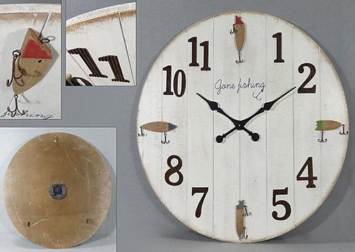 Gone Fishing Round Clock