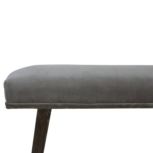 Grey Velvet Industrial Style Bench