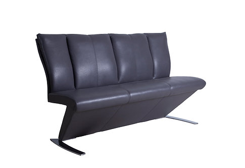 PU Padded Seating in Mid Grey with Chrome Base