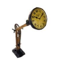 Teak Wooden Iron Lamp Style Clock