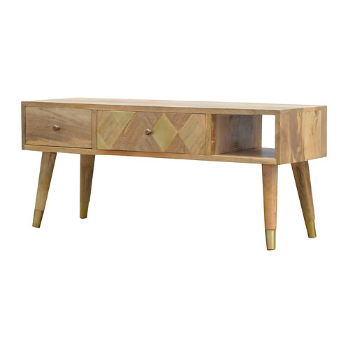 Brass Insert TV Media Unit with Drawers