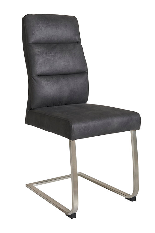 PU Padded Dining Chair in Dark Grey With Brushed Steel Frame