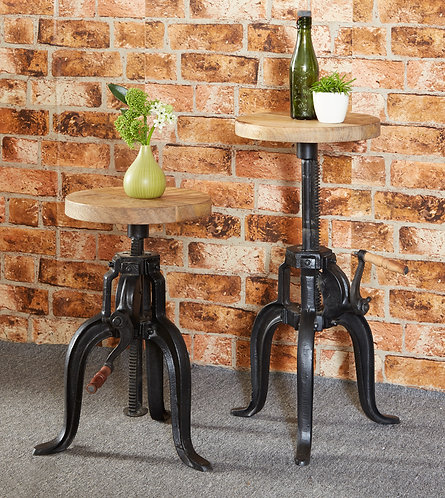 Cosmo Industrial Small Crank Side Table