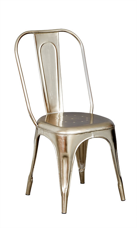 Cosmo Industrial Pair of Silver Metal Chairs