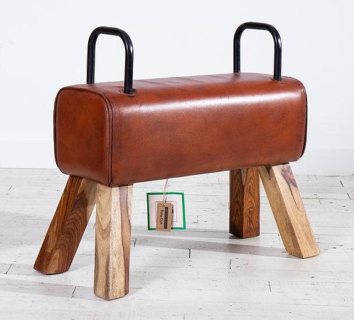 Pommel Horse Leather Dining Bench