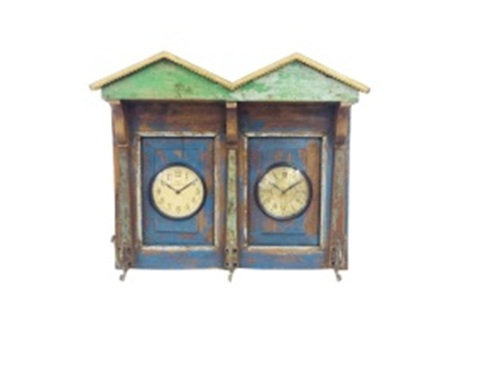 Upcycled Window Dual Dial Clock