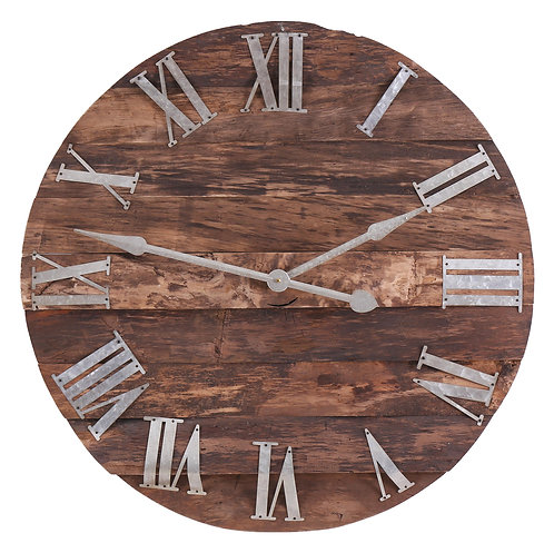 Wooden Panelled Round Clock With Roman Numerals