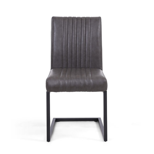 Pair of Grey Leather Dining Chairs