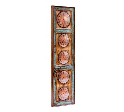 Upcycled Old Door World Time Clock