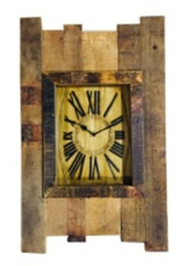 Upcycled Wooden Slats Clock with Antique Dial