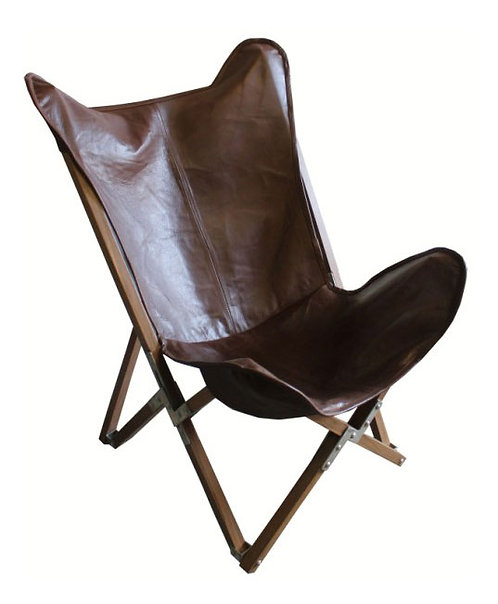 Burgundy Leather Butterfly Chair
