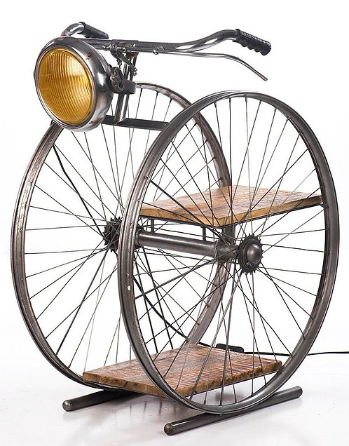 Vintage Bicycle Wheel Lamp With Shelf