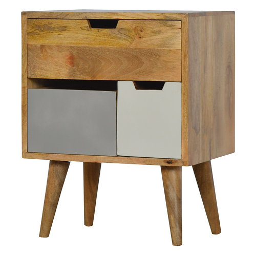Grey Nordic Style Bedside Cabinet