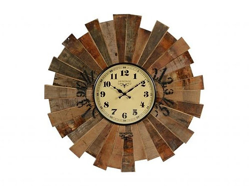 Teak Wooden Clock with Antique Dial