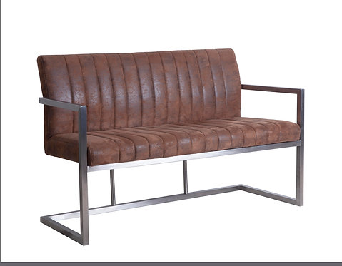 Brown Suedette Seating with Square Brushed Steel Frame