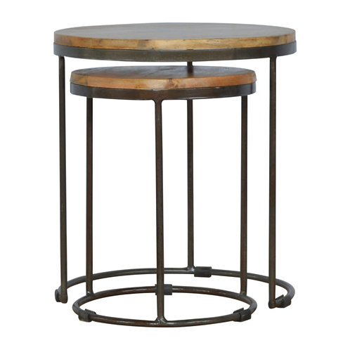 Set of 2 Round Iron Base Tables