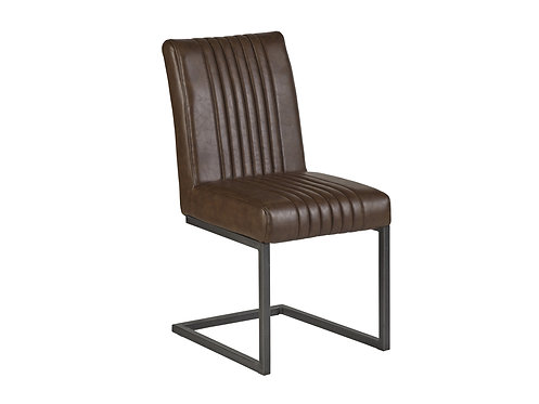 Pair of Brown Leather Dining Chairs