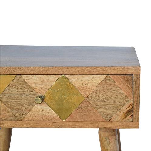 Brass Insert Bedside Cabinet
