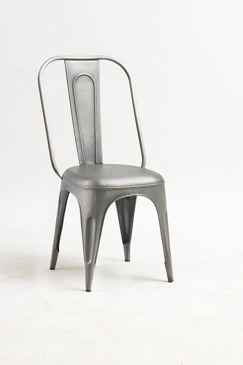 Cosmo Industrial Pair of Grey Metal Chairs