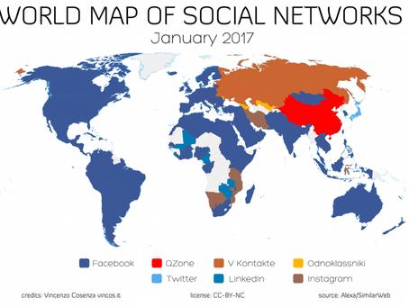 Quali sono i social network più usati al mondo? Ecco la mappa di Vincos
