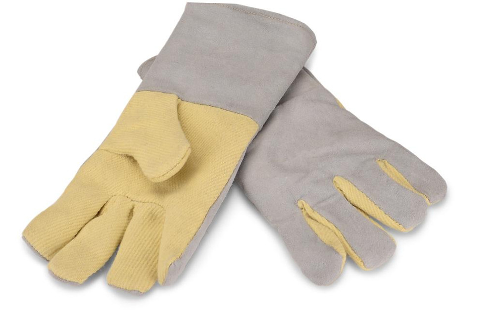 Leather Safety gloves with cut protection kevlar palm