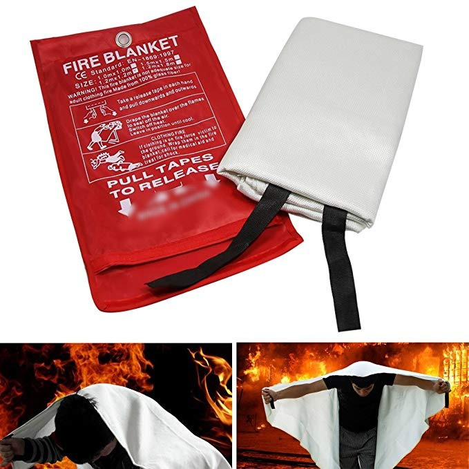 Fire blanket made with fiberglass fabric for extinguishing fires