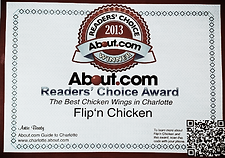 Flip'n Chicken is the winner of About.com's reader's choice for best wings in Charlotte 2013.