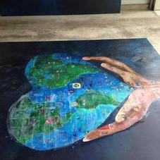 Making man kind mural coming together