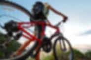 cyclist walking red bike