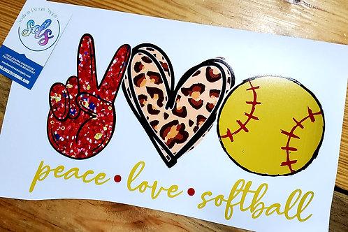 Peace Love Softball HTV Transfer